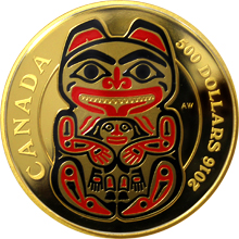 Zlatá mince 5 Oz Medvěd Mythical Realms of the Haida 2016 Proof