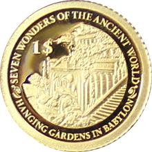 Zlatá mince Visuté zahrady babylónské 0.5 g Miniatura 2013 Proof