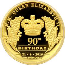 Zlatá mince 2 Oz Královna Alžběta II. 90. výročí narození High Relief 2016 Proof