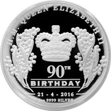 Stříbrná mince Královna Alžběta II. 90. výročí narození 1 Oz High Relief 2016 Proof