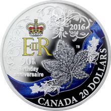 Stříbrná mince Královna Alžběta II. 90. výročí narození 1 Oz 2016 Proof (.9999)