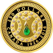 Zlatá mince Královna Alžběta II. 90. výročí narození 2016 Diamanty Smaragd Proof