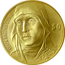 Zlatá medaile ve váze 40dukátu s motivem 50 Kč bankovky - sv. Anežka Česká 2016 Standard