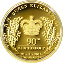 Zlatá mince Královna Alžběta II. 90. výročí narození 1/4 Oz 2016 Proof