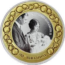 Stříbrná pozlacená mince Královna Alžběta II. 90. výročí narození 1 Oz 2016 Proof