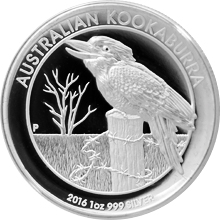 Stříbrná mince Kookaburra 1 Oz High Relief 2016 Proof