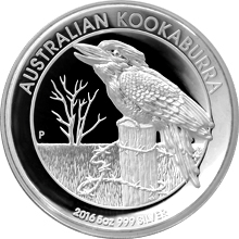 Stříbrná mince 5 Oz Kookaburra High Relief 2016 Proof