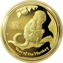 Exkluzivní Zlatá mince Year of the Monkey Rok Opice 1 Oz 2016 Proof