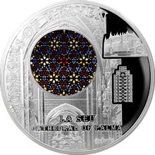 Stříbrná mince Katedrála Palma de Mallorca Růžicové okno 2016 Proof