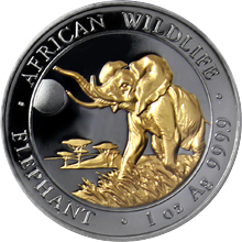 Stříbrná Ruthenium mince pozlacený Slon africký 1 Oz Golden Enigma 2016 Proof