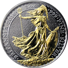 Stříbrná Ruthenium mince pozlacená Britannia 1 Oz Golden Enigma 2016 Proof