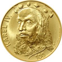 Zlatá medaile ve váze 40dukátu s motivem 100 Kč bankovky - Karel IV. 2015 Standard
