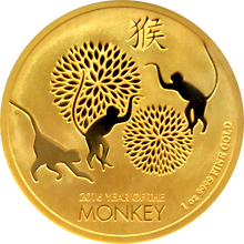 Zlatá investiční mince Niue Year of the Monkey Rok Opice 1 Oz 2016