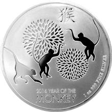 Stříbrná investiční mince Niue Year of the Monkey Rok Opice 1 Oz 2016