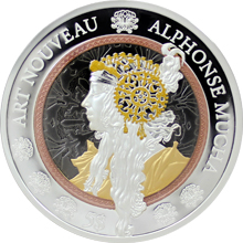Stříbrná mince 2 Oz Alfons Mucha Art Nouveau 2016 Proof