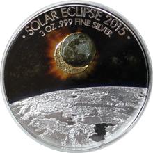 Stříbrná mince 3 Oz Zatmění Slunce 2015 Proof