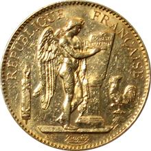 Zlatá mince 100 Frank Anděl - Génius 1901