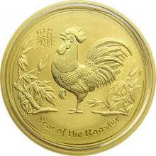 Zlatá investiční mince Year of the Rooster Rok Kohouta Lunární 1 Oz 2017