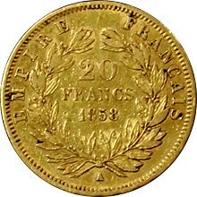 Zlatá mince 20 Frank Napoleon III. 1858 A