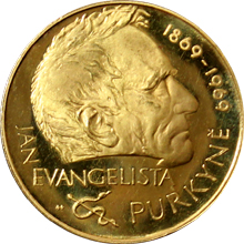 Zlatá medaila J.E.Purkyne 100. výročie úmrtia 1969 Štandard