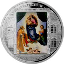 Stříbrná mince 3 Oz Sixtinská Madona Raffael Santi 2009 Krystaly Proof