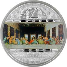Stříbrná mince 3 Oz Poslední večeře Leonardo da Vinci 2008 Krystaly Standard