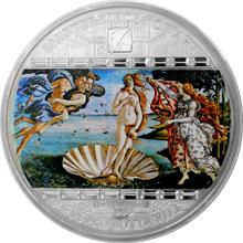 Stříbrná mince 3 Oz Zrození Venuše Sandro Botticelli 2008 Krystaly Standard