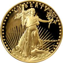 Exkluzivní zlatá mince American Eagle 1 Oz 1986 Proof