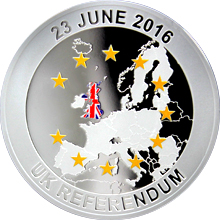 Stříbrná mince Brexit 1 Oz 2016 Proof