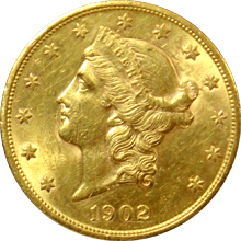 Zlatá mince American Double Eagle Liberty Head 1902