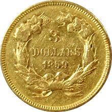 Zlatá mince 3 Dolar Indian Head 1859