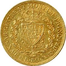 Zlatá mince 80 Lira Karel Felix Sardinský 1828