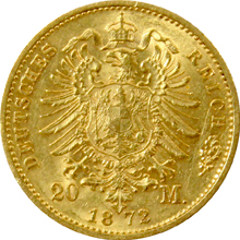 Zlatá mince 20 Marka Karel I. Württemberský 1872