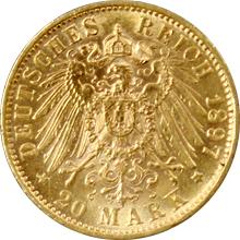 Zlatá mince 20 Marka Vilém II. Württemberský 1897