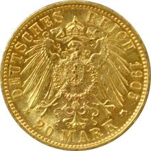 Zlatá mince 20 Marka Vilém II. Württemberský 1905