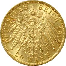 Zlatá mince 20 Marka Fridrich II. Bádenský 1914