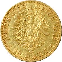 Zlatá mince 10 Marka Vilém I. Pruský 1879