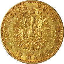 Zlatá mince 10 Marka Vilém I. Pruský 1880
