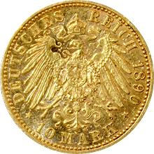 Zlatá mince 10 Marka Vilém II. Pruský 1890
