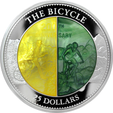 Stříbrná mince 5 Oz Bicykl 200. výročí 2017 Perleť Proof