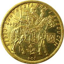 Zlatá minca Svatý Václav Ďesaťdukát Československý 1930