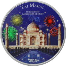 Stříbrná mince 2 Oz Taj Mahal Magnificent Landmarks at Night 2016 Standard