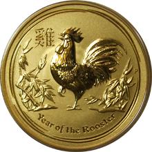 Zlatá investičná minca Year of the Rooster Rok Kohúta Lunárny 1/4 Oz 2017