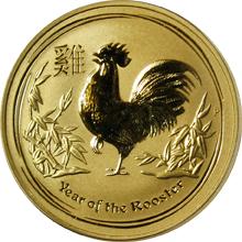 Zlatá investičná minca Year of the Rooster Rok Kohúta Lunárny 1/2 Oz 2017