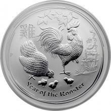 Stříbrná investiční mince Year of the Rooster Rok Kohouta Lunární 1 Oz 2017