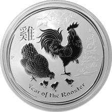 Stříbrná investiční mince Year of the Rooster Rok Kohouta Lunární 1/2 Oz 2017