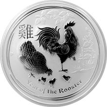 Stříbrná investiční mince Year of the Rooster Rok Kohouta Lunární 2 Oz 2017