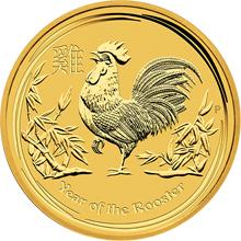 Zlatá investiční mince Year of the Rooster Rok Kohouta Lunární 2 Oz 2017