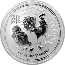 Stříbrná investiční mince Year of the Rooster Rok Kohouta Lunární 5 Oz 2017