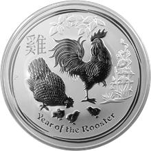 Stříbrná investiční mince Year of the Rooster Rok Kohouta Lunární 10 Oz 2017